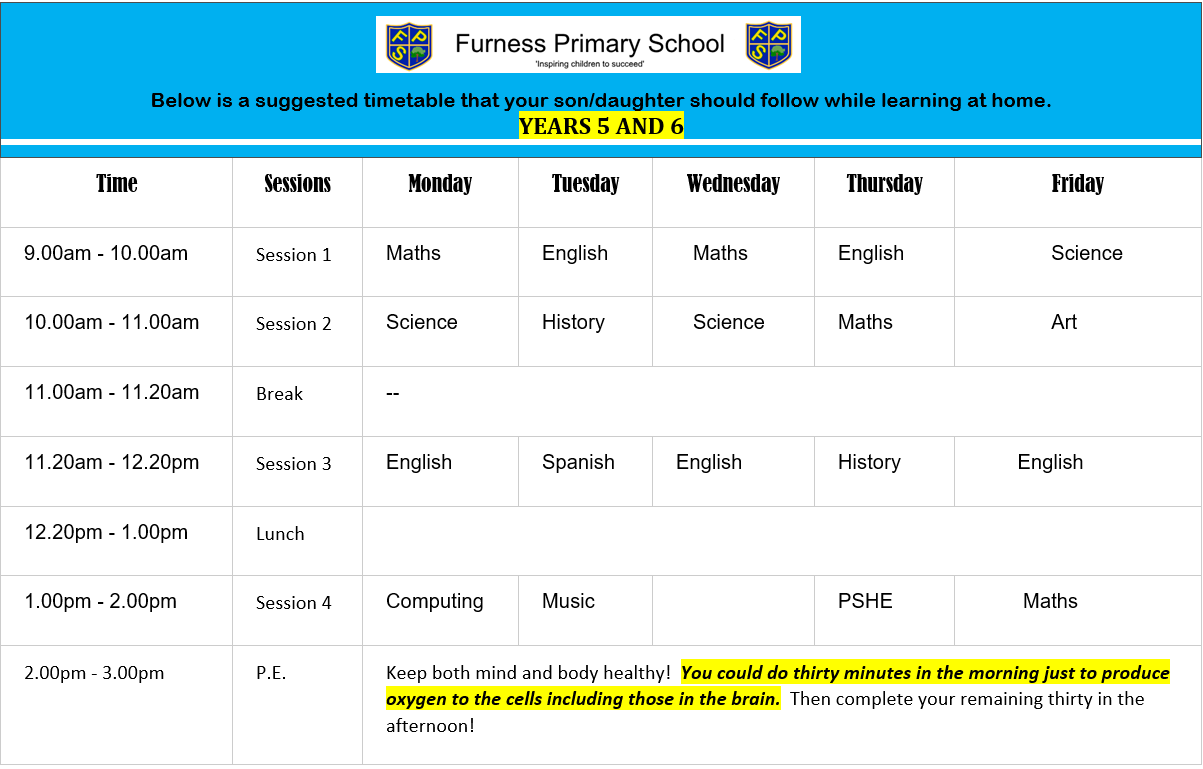 y5 and 6 timetable(1)